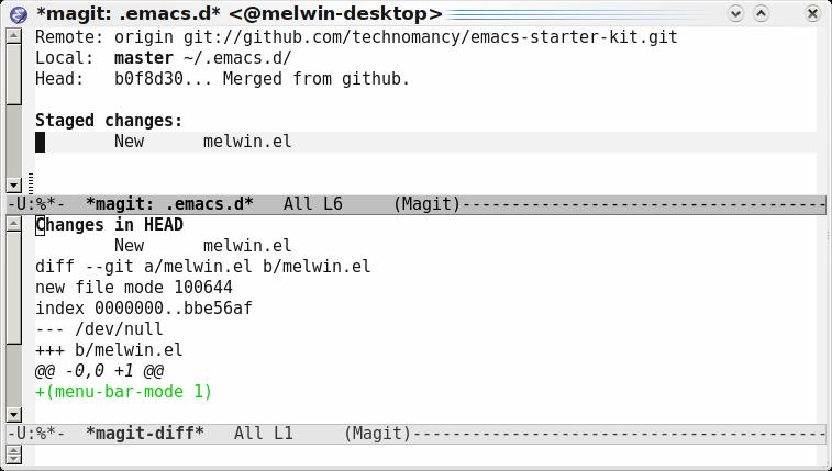 Emacs magit-status diff