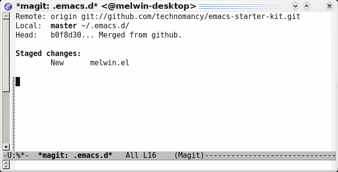 Emacs magit-status staged